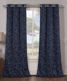 Another great find on #zulily! Indigo Lewis Blackout Curtain Panel - Set of Two #zulilyfinds