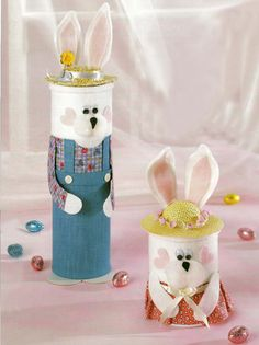 rabbits made with felt, fabric and toilet paper tubes