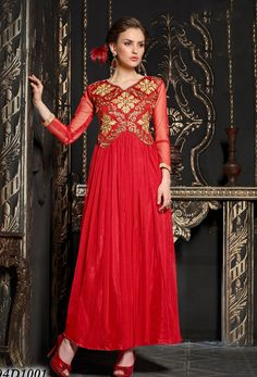 Red Soft Net Anarkali Suit #reshamembroidery #resham #ceremonial #georgette #net #officewear #long #achkanstyle #salwarkameez #suit #suitsonline #traditional #straightcut #fullsleeve #contemporary #womenwear #womenclothing #nikvik #usa #designer #australia #canada #malaysia #UAE #freeshipping price-US$62.10.Sign up and get USD100 worth vouchers.Offer is valid for limited period.