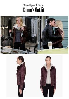 """On the blog: Emma Swan's (Jennifer Morrison) burgundy two piece leather jacket   Once Upon A Time - """"Darkness on the Edge of Town"""" (Ep. 413)  #OUAT #tvstyle #tvfashion #outfits #fashion #edgy #moto"""