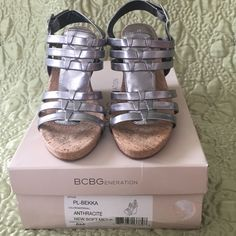 BCBGeneration Silver Wedges Brand new, wore once!  Make me an offer!!! BCBGeneration Shoes Wedges
