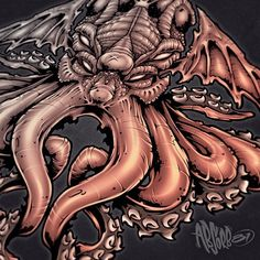 Cthulhu Fully Saturated.  I forgot to post the colored version #cthulhu #octopus #illustration #designer #art #tattoo