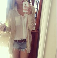 Cardigan and white button up blouse