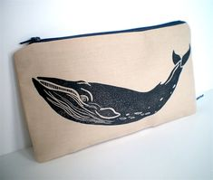 Handmade Talented Apple zipped pouch purse with whale lino print. Stripey nautical lining! Perfect for makeup pouch, coin purse or transporting my jewellery.