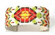 Loomed turtle cuff bracelet with size 15 seed beads, white