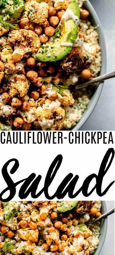 This Cauliflower Salad with Creamy Tahini Dressing combines roasted cauliflower & chickpeas with fluffy quinoa and creamy avocados. It's a healthy, protein-packed salad that can be made ahead of time. // healthy // recipe // cold // vegan...