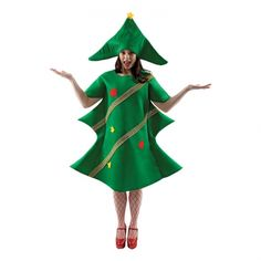A Christmas party just isn't complete without a tree! Our hilarious Christmas Tree Outfit combines a fantastic tree-shaped tunic and a matching hat with a star at the top. Christmas Tree Outfit, Christmas Fancy Dress, Christmas Costumes, Christmas Humor, Ugly Christmas Sweater, Christmas Holidays, Christmas Clothes, Xmas, Funny Dresses
