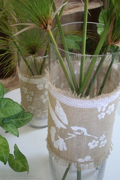 DIY: Burlap Wrapped Vase Embellished with Stencils and Lace