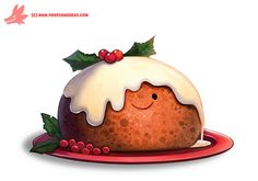 Daily Paint #1127. Christmas Pudding by Cryptid-Creations.deviantart.com on @DeviantArt