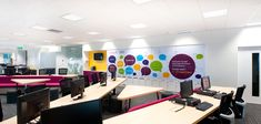 Office branding in vinyl is a great way to bring colour and life into a room Creative Office Branding by Vinyl Impression wall Graphics