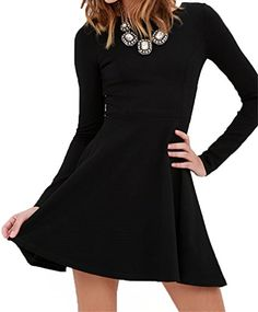 LM Women Black ALine Long Sleeve Casual Min Short Work Dress >>> You can find more details by visiting the image link.