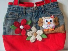 Bolso vaquero blue jean purse with owl Jean Crafts, Denim Crafts, Bag Quilt, Sewing Crafts, Sewing Projects, Diy Jeans, Denim Purse, Denim Ideas, Recycled Denim