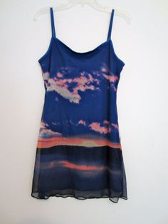 1e56f8d25fbf6 California Sunset Landscape Dress Sheer Mini S M Grunge Urban Hipster  Festival Wear Club Kid