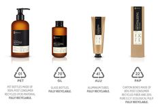 Phenome natural skincare products. Natural, sustainable, organic. Product packaging is made of recycled materials and intended for further recycling and reuse. Cardboard boxes are composed of 80% waste paper and recycled fiber. PET and HDPE bottles are made of 100% recycled plastic - so-called PCR (Post Consumer Recycled) material. Fully recyclable aluminum and glass containers are also part of the range.  Every packaging includes information about material which was used to produce it…