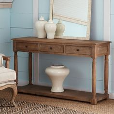 Oak Farmhouse Console Could place small poofs/baskets underneath for more seating/storage