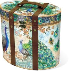 Royal Peacock Tall Oval Box by Punch Studios / http://www.barnesandnoble.com/p/home-gift-royal-peacock-tall-oval-box-large/24932244?ean=802126517260