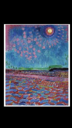 """Jan Sluijters- """" Maanacht """", 1910 - Oil on canvas - 41 x 33,5 cm (*)"""
