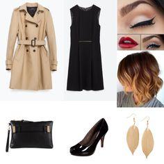 Tenue de soirée pour l'automne :  - robe et trench Zara - escarpins Tamaris - pochette Aldo  Tenue créée sur @myoutfitapp.