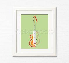 Modern Guitar Art Print - Orange and Olive Green Modern Home Decor - 8x10 - Guitar (d) Inspirational Wall Art, Musical Decor, Instrument
