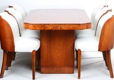 Art Deco Walnut Epstein Cloud Dining Suite
