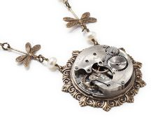 Steampunk Necklace silver antique pocket watch movement gears pearl gold dragonfly Neo Victorian pendant