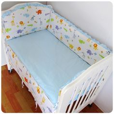 42.80$  Buy now - http://alifc0.worldwells.pw/go.php?t=32522995720 - Promotion! 6PCS Cotton Baby Crib Cot Bedding Set for Girl Boys Cartoon Baby Bed Linen ,include:(bumper+sheet+pillow cover)
