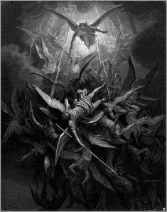 Michael cast out rebel angels / Gustave Dore` Gustave Dore, Lateinisches Tattoo, Fire Tattoo, Tattoo Mafia, Satanic Art, Angel Aesthetic, Angels And Demons, Fallen Angels, Angel Art