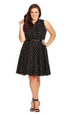 City Chic Spotty Dotty Dress - Black - Women's Plus Size Fashion