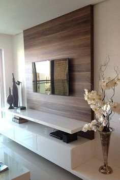 Living Room Tv Unit Designs, Small Living Room Design, Living Room Modern, Modern Wall, Tv Wall Decor, Wall Tv, Wall Wood, Wall Decorations, Muebles Living