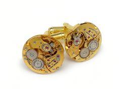 Steampunk cufflinks antique 1940 Mathey Tissot watch movements 17 ruby jewel elegant vintage pinstripe round gold mens wedding accessory anniversary cuff links  #SteampunkCufflinks #SteampunkJewelry #SteampunkJewelrybyMariaSparks