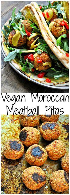 Vegan Moroccan Meatball Pitas - Rabbit and Wolves