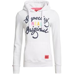 Superdry Real Original Entry Hoodie (840 ZAR) ❤ liked on Polyvore featuring tops, hoodies, white, women, patterned hoodies, superdry hoodie, hooded pullover, superdry hoodies and cotton hoodies