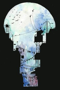 Encre et Aquarelle - Utilisation d'un noir suggestif - Ink and Watercolor Illustration