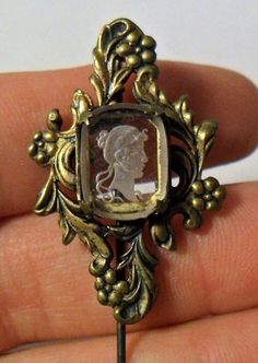 Antique Reverse Glass Cameo Stick or Hat Pin by onetime on Etsy, $4.25