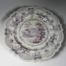 Staffordshire Antique Purple Lavender 1800's Royal Sketches Plate Transferware