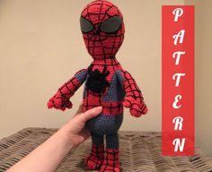 PDF pattern SpiderMan plush doll crochet by LottiesCreations, Knitting Patterns, Crochet Patterns, Dk Weight Yarn, Black Felt, Plush Dolls, Crochet Hooks, Red And Blue, Spiderman, Trending Outfits