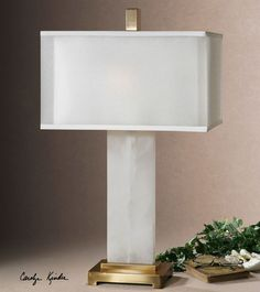 Luxurious white alabaster meets glamorous coffee bronze metal in the transitional design of the Uttermost Athanas Alabaster Lamp . The rectangular hardback. Rustic Mirrors, Rustic Wall Decor, Alabaster Lamp, Barn Wood Picture Frames, Bedroom Lamps, Marble Bedroom, Master Bedroom, Bedroom Table, Light Table