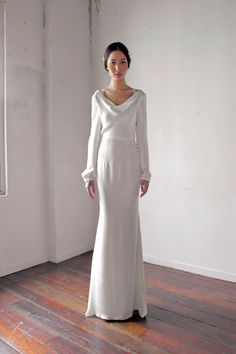 Sleek and modern wedding gown with loose sleeves // Five Questions with Designer Alia Bastamam