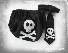 Newborn, Infant, Baby, Toddler Boy Skull and Crossbones Black and White Diaper Cover and Neck Tie. Punk Baby Cool Kid Baby Shower Gift $35