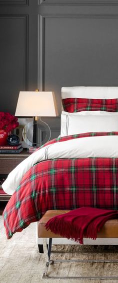 Tartan Red Holiday Bedding