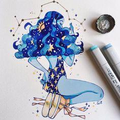 we have nature and art and poetry Marker Kunst, Marker Art, Pretty Art, Cute Art, Bel Art, Art Mignon, Arte Sketchbook, Galaxy Art, Cool Art Drawings