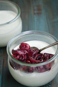 Yogurt Panna Cotta With Honey Roasted Strawberries