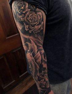 Cool Mens Rosary Tattoos On Arm Full Sleeve Inspiration Full Sleeve Tattoos, Tattoo Sleeve Designs, Tattoo Designs Men, Wolf Tattoos, Body Art Tattoos, Hand Tattoos, Marvel Tattoos, Rosary Tattoo Arm, Christian Sleeve Tattoo