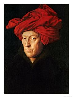 I used to do this all the time with my red bath towel // Jan Van Eyck, Man in a Red Turban, 1433.  National Gallery, London.