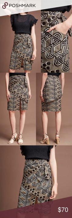 """Anthropologie Faux Wrap Tribal Pattern Skirt Edessa Printed Skirt by Maeve. Rayon, linen Midi silhouette Patch pocket Side zip  Regular: 25""""L Anthropologie Skirts Pencil"""