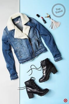 Look great on the go with this denim moto—it's a cool revamp of the classic moto style, but with a '70s twist that's very now and perfect for fall layering. Add a chunky pair of boots and red lip, and you'll be dressed and out the door.