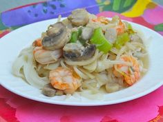 The shrimp chow mein recipe is made with celery, bamboo shoots, mushrooms and mung bean sprouts.