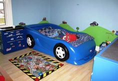Boys race car themed room Twin size Little Tikes car bed and from Car Bed Mattress SizeCar Bed Mattress Size - If you'r Disney Cars Toddler Bed, Race Car Toddler Bed, Disney Cars Room, Kids Car Bed, Toddler Girl, Car Bed Frame, Twin Car Bed, Twin Beds, Kids Bedroom Designs