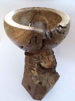 Spalted Bowl with Tea Light on Oak Plinth.