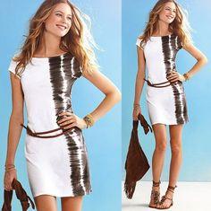 Womens European Fashion Summer Crewneck Short Sleeve Belt Mini Dress White S141